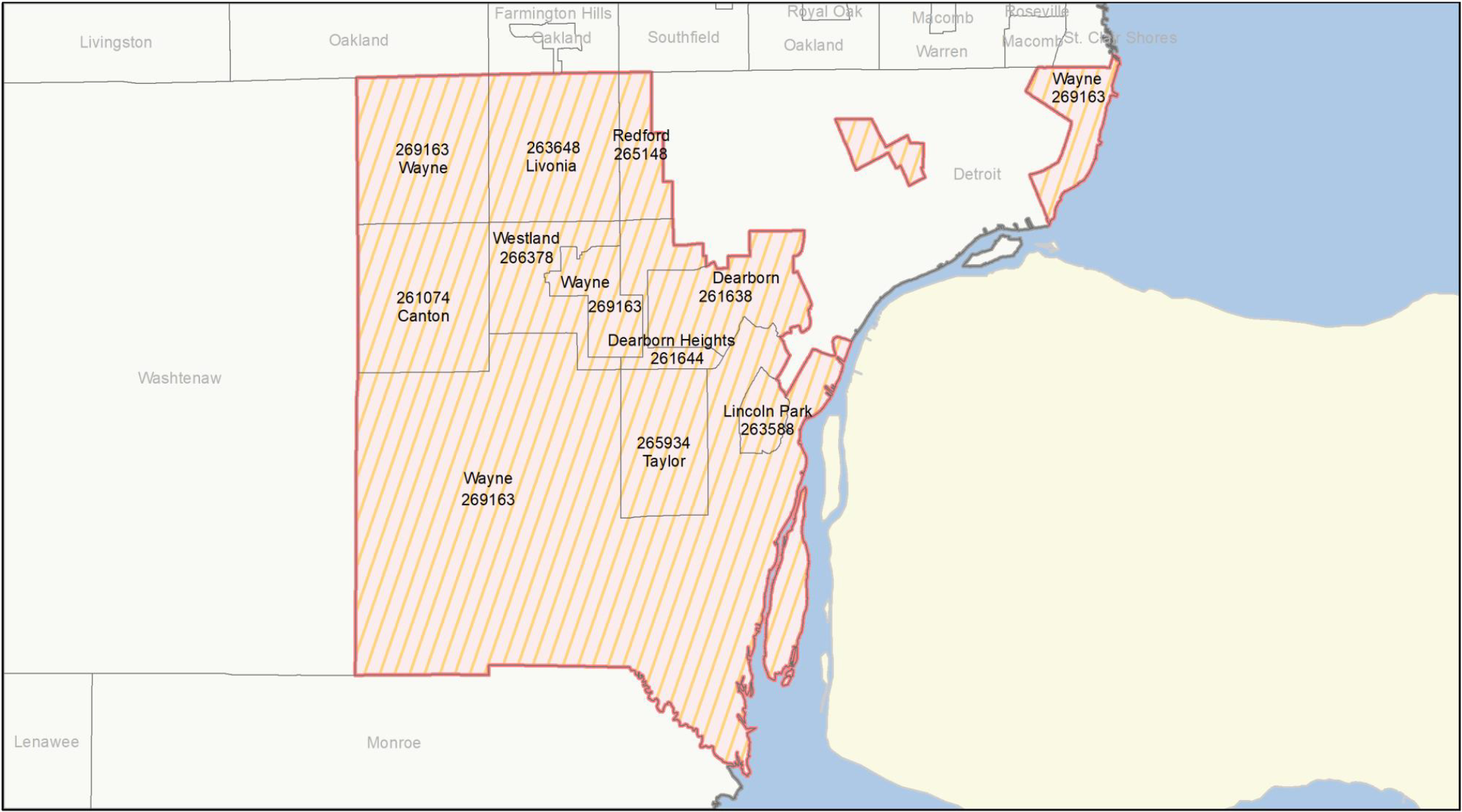 Out Wayne County map